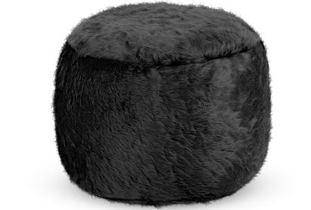 Furry zitzak van Your Basics | Keuze uit 17 kleuren en 3 modellen in diverse maten Zwart - poef rond