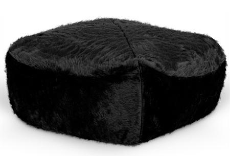 Furry zitzak van Your Basics | Keuze uit 17 kleuren en 3 modellen in diverse maten Zwart - poef vierkant