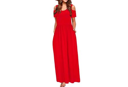 Cold shoulder maxi jurk   Casual zomerjurk - in 10 varianten  Rood