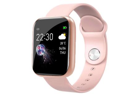 Unisex smartwatch | Stijlvol horloge met siliconen bandje Roze