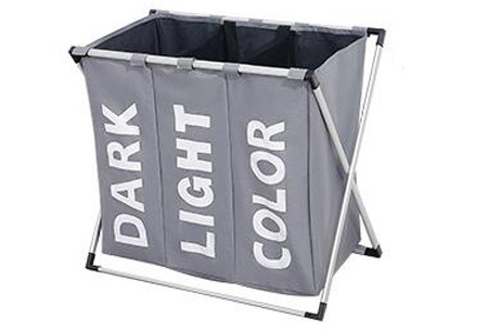 Wasmand organizer met 3 vakken | Al je was direct op kleur gesorteerd! Grijs
