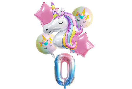 Unicorn ballonnen | 6-delige folieballonnen set met cijfer 0
