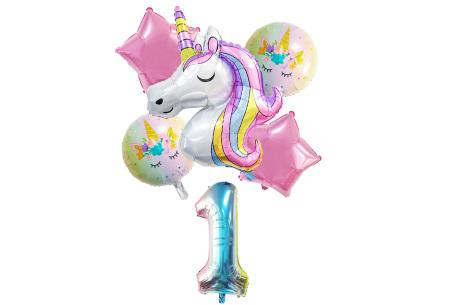 Unicorn ballonnen | 6-delige folieballonnen set met cijfer 1