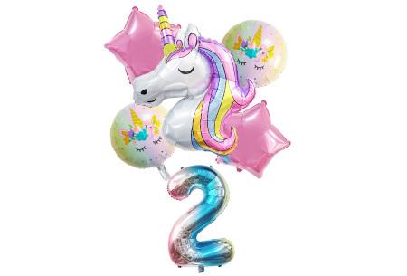 Unicorn ballonnen | 6-delige folieballonnen set met cijfer 2