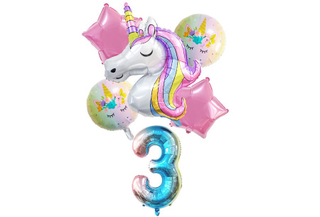 Unicorn ballonnen | 6-delige folieballonnen set met cijfer 3
