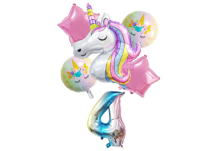 Unicorn ballonnen | 6-delige folieballonnen set met cijfer 4