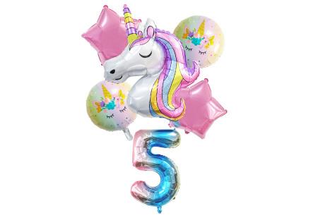 Unicorn ballonnen | 6-delige folieballonnen set met cijfer 5