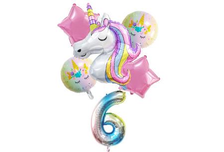Unicorn ballonnen | 6-delige folieballonnen set met cijfer 6