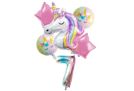 Unicorn ballonnen | 6-delige folieballonnen set met cijfer 7