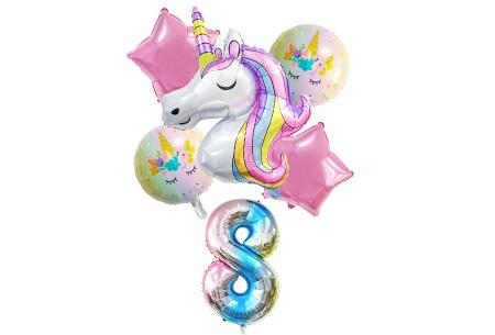 Unicorn ballonnen | 6-delige folieballonnen set met cijfer 8