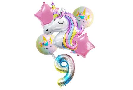 Unicorn ballonnen | 6-delige folieballonnen set met cijfer 9