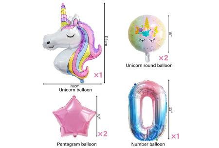Unicorn ballonnen | 6-delige folieballonnen set met cijfer