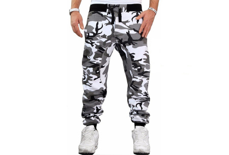 Camouflage joggingbroek voor heren   Trainingsbroek met legerprint - in 6 kleuren Wit