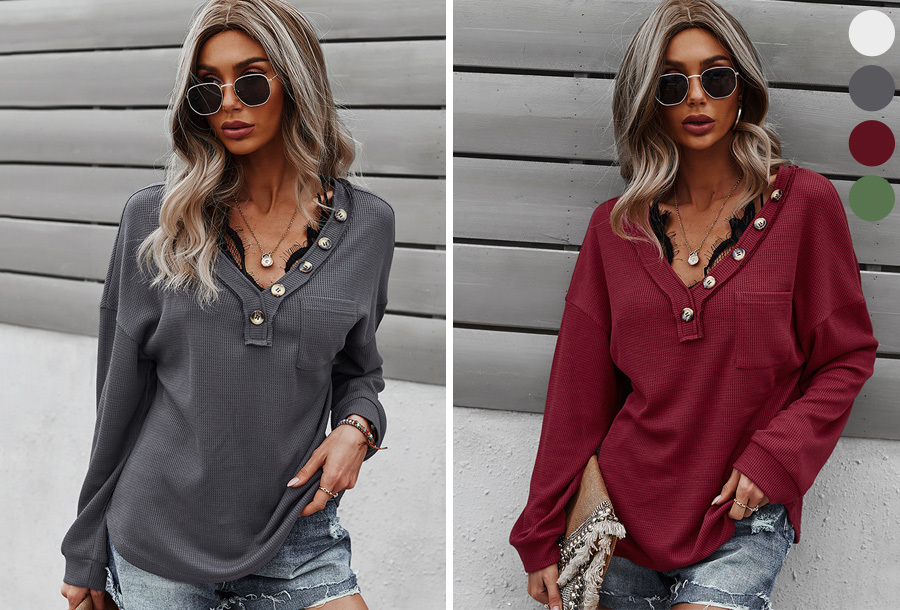 V-neck dames shirt met lange mouwen