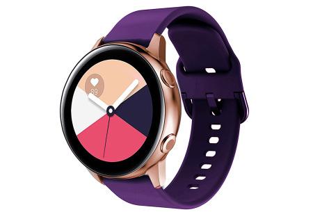 Siliconen smartwatchbandjes   Gekleurde horlogebandjes in 2 maten Donkerpaars