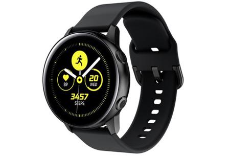 Siliconen smartwatchbandjes   Gekleurde horlogebandjes in 2 maten Zwart