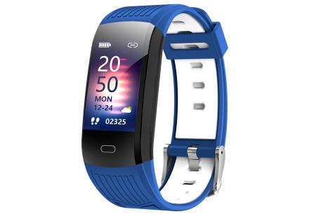 Activity tracker voor dames & heren   Veelzijdige smartwatch met minimalistisch design Blauw/wit