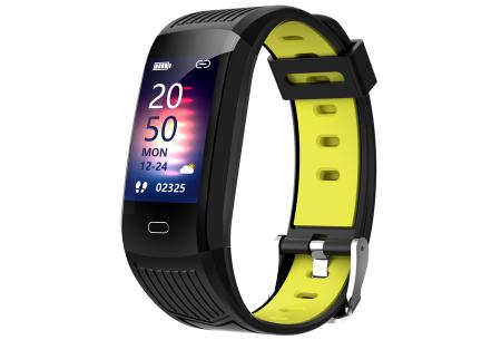 Activity tracker voor dames & heren   Veelzijdige smartwatch met minimalistisch design Zwart/geel
