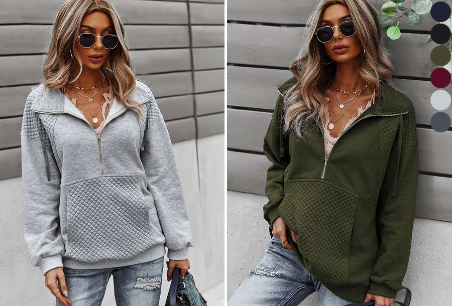 Dames sweater met rits in de aanbieding