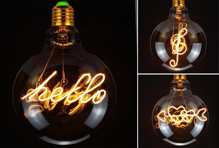 Retro led-gloeilamp met tekst of figuren