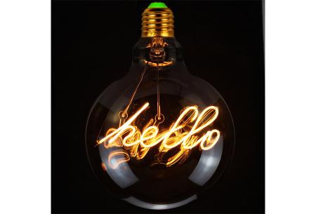 Retro led-gloeilamp E27   Trendy led-bulb met tekst of figuur Hello