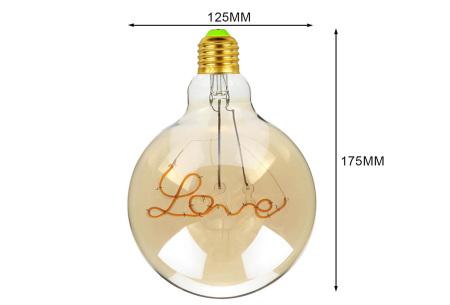 Retro led-gloeilamp E27   Trendy led-bulb met tekst of figuur