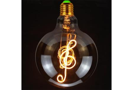 Retro led-gloeilamp E27   Trendy led-bulb met tekst of figuur G-sleutel