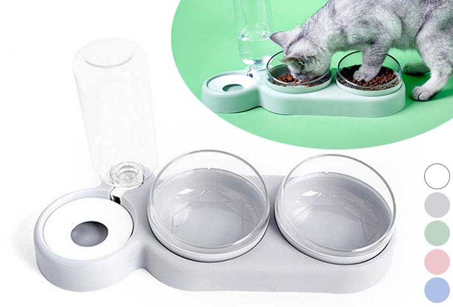 Pastel drink- en voerbak voor honden en katten
