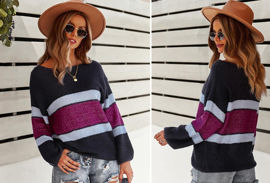 Striped sweater Maat S - Donkerblauw