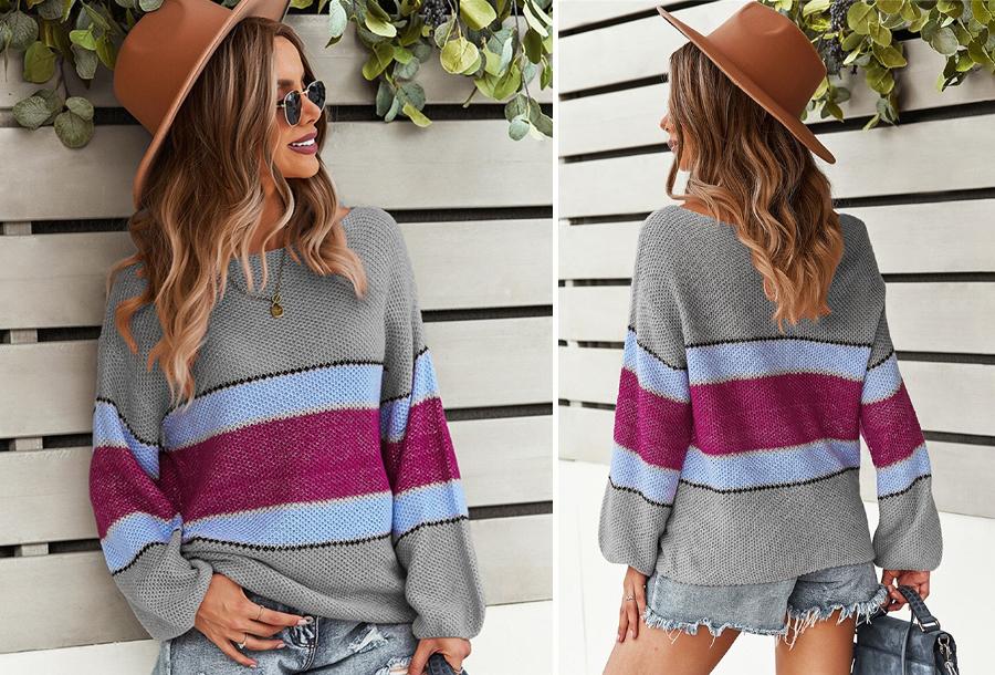 Striped sweater Maat M - Grijs