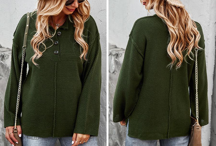 Button trui - Groen - Maat L
